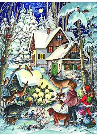 [해외]Richard Sellmer Verlag Company Children and Friendly Woodland Creatures Around Christmas Tree Advent Calendar Approx 8.25 x 11.75 (805) / Richard Sellmer Verlag Company Children and Friendly Woodland Creatures Around Christmas Tree...