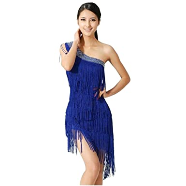 Womens Ballroom Salsa Samba Rumba Tango Swing Rhythm Latin Dance Dress Blue One Size