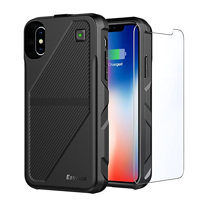official photos bacfb 630ee EasyAcc Battery Charger Case Works for iPhone X XS, Wireless Charge Case  Cover 5000mAh Battery Qi Rechargeable Shell