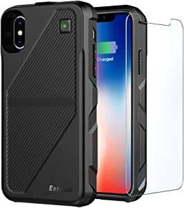 EasyAcc Battery Charger Case Works for iPhone X XS, Wireless Charge Case Cover 5000mAh Battery Qi Rechargeable Shell