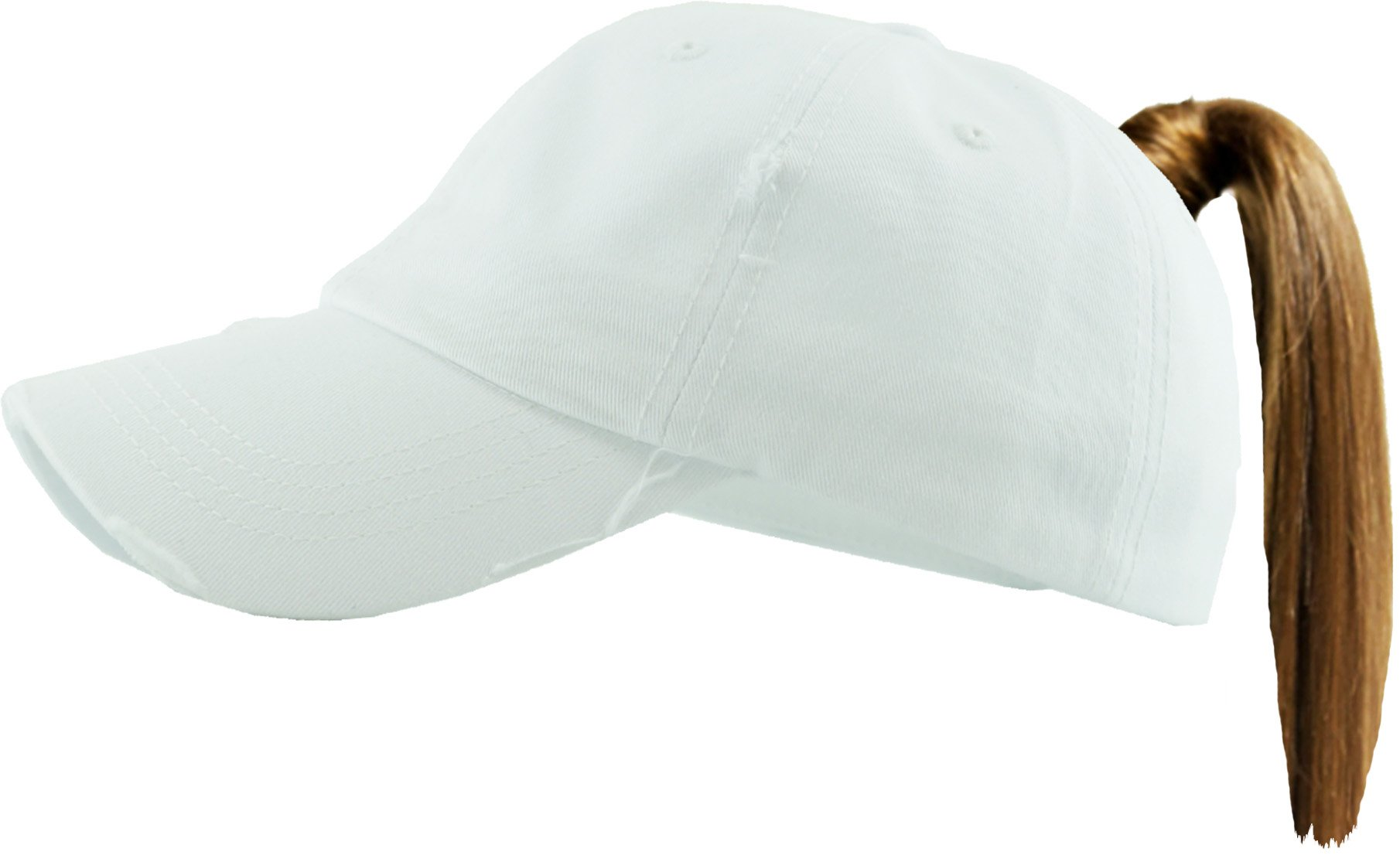 H-216-S09 Distressed Trucker Dad Hat Womens Messy Bun Baseball Pony Cap - White