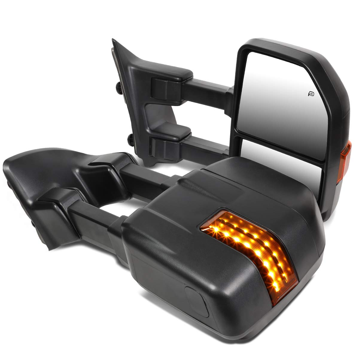 DNA MOTORING TWM-057-T888-BK-AM Pair Powered+Heated+LED Turn Signal Towing Mirror Replacement