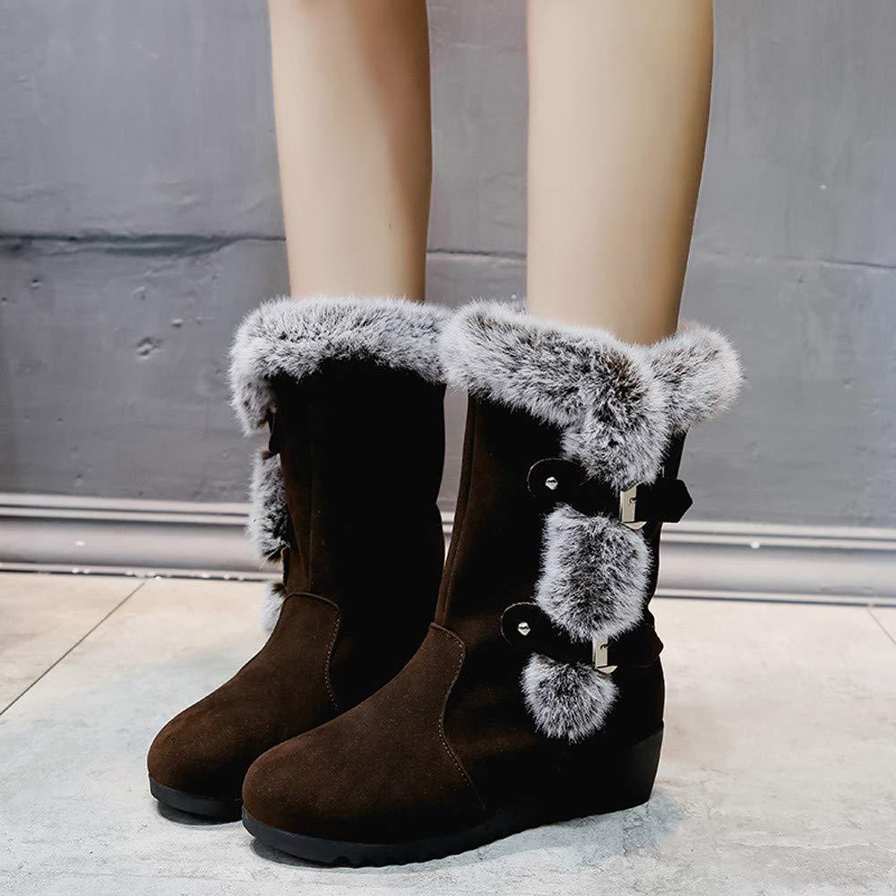 Cl/ásicos Botas de Nieve de Las Mujeres Tacones Planos de Moda Zapatos de Invierno Botas de Piel Caliente Adem/ás de Terciopelo ZODOF Botas de Nieve de Las Mujeres