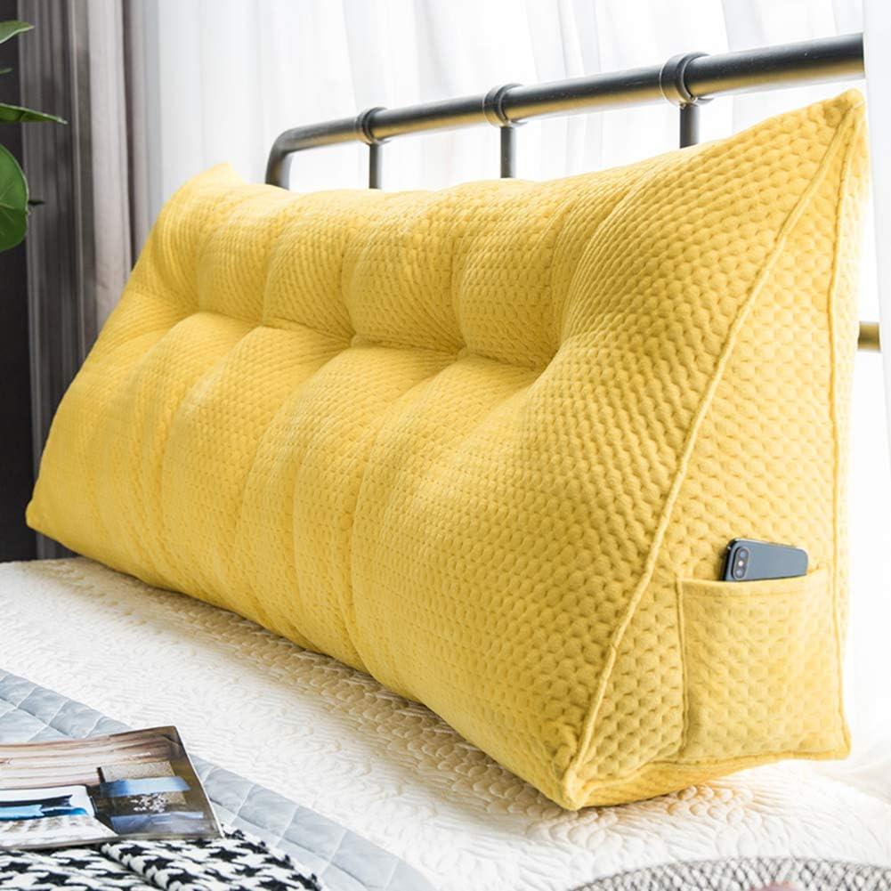 31x20inch F-LFJBK Bed Backrest Upholstered Cushion Triangular Wedge Pillow,Velvet Large Bolster Bedside Headboard Reading Pillow Lumbar Pad Long Pillow-Blue 80x50cm