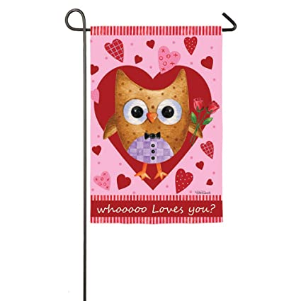 Amazon Com Who Loves You Valentines Day Owl Garden Flag Outdoor
