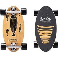 SANVIEW Short Bamboo Longboard Skateboard Cruiser for Kids Adults