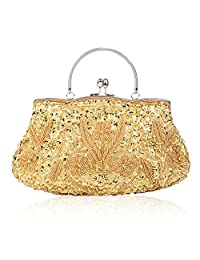 Liveinu Women's Vintage Beaded and Sequined Evening Bag Wedding Party Handbag Clutch Purse