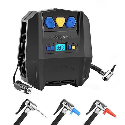 BASEIN Compresor de Aire, Inflador Portátil de Neumáticos Digitales con Luz LED y Calibrador Bomba de Aire Eléctrica 12V para Neumáticos, Bicicletas, ...