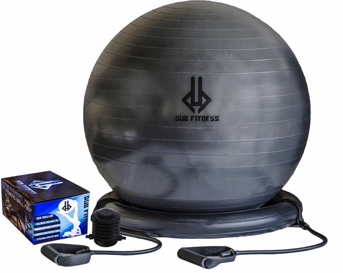 Dub Fitness,1500 lbs, Strength Exercise Stability Ball w Pump Home Gym Fitness 65 centimeters,  Balance Ball With Stability Base, Resistance Bands, Ideal for Chair, Physio, Yoga, Pilates Men and Women