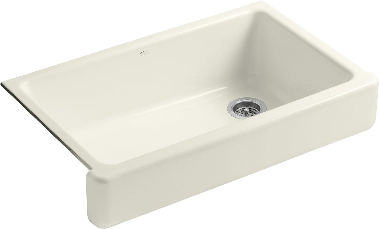 KOHLER K-6488-96 Whitehaven Farmhouse Self-Trimming Apron Front Single Basin Kitchen Sink with Short Apron, Biscuit