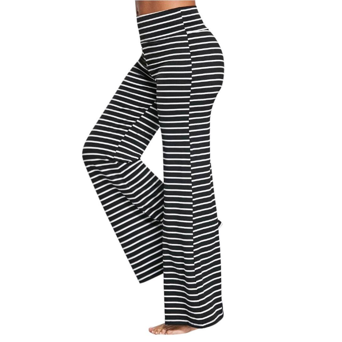Leedford Womens Casual High Waisted Striped Wide Leg Trousers Loose Bottoms Pants (2XL, Black)