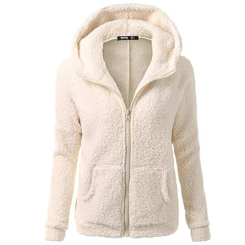 SHOBDW Mujeres de invierno de lana cálida cremallera abrigo con capucha suéter abrigo de algodón out...