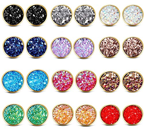 ATIMIGO Druzy Gold Stud Earrings Set for Girls Women Stainless Steel Hypoallergenic Pierced Earrings 12 pairs ()