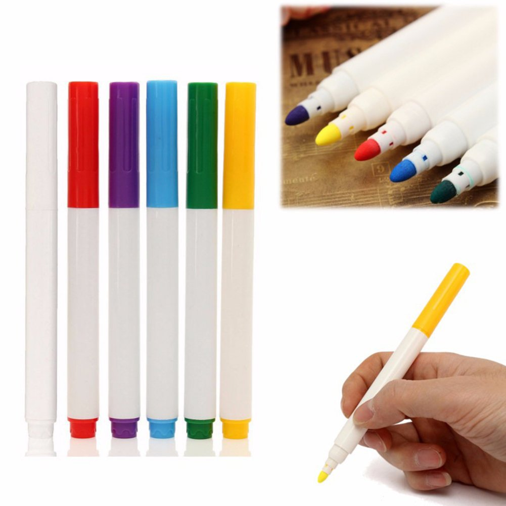 Chalk Paint Pens,6 Colored Premium Liquid Chalk with Non-Toxic Erasable Ink and Reversible Fine Tip for Glass Windows Chalkboard Blackboard Whiteboard Marker for Office,School