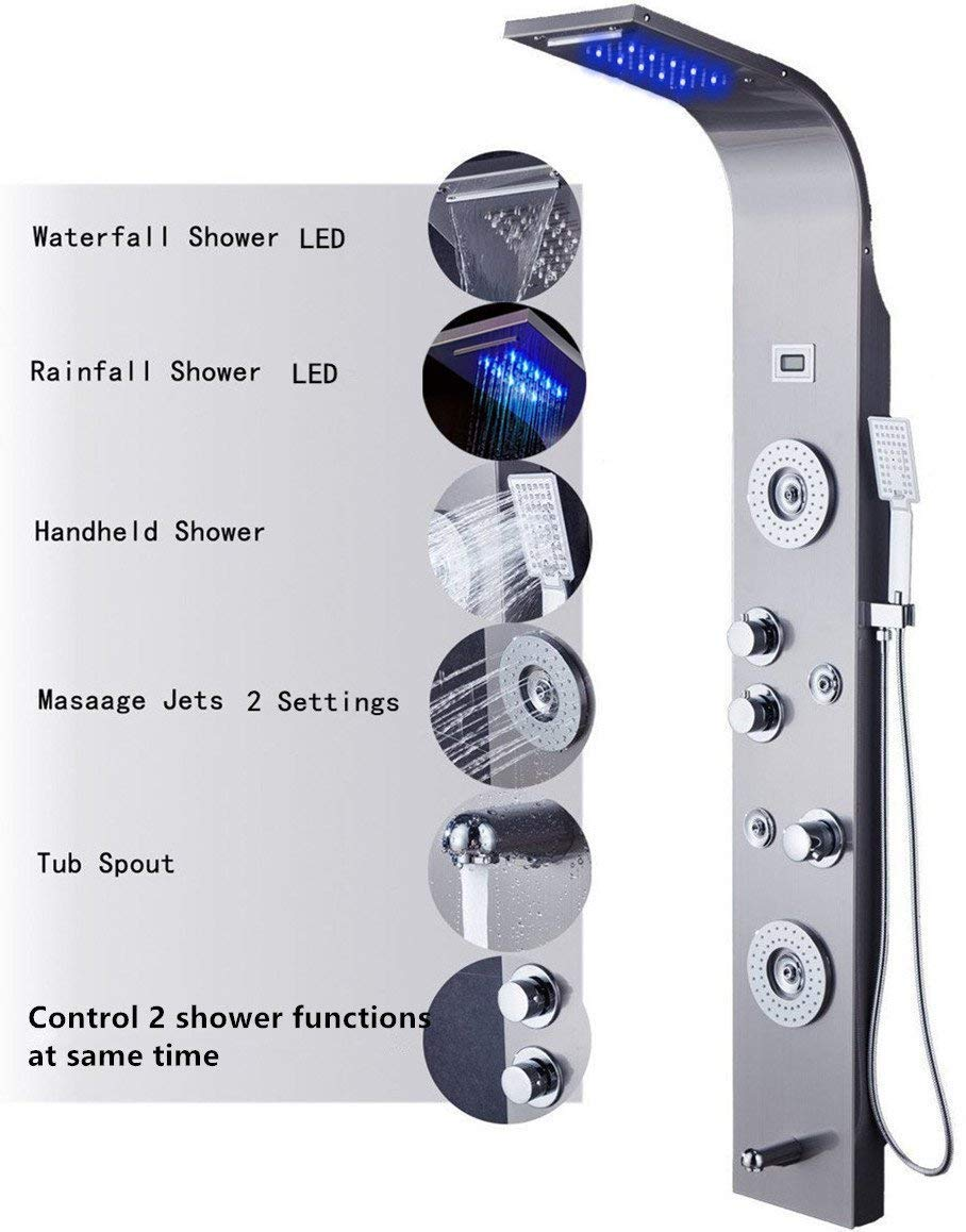 Ello&Allo Stainless Steel Shower Panel Tower LED Rainfall Waterfall Head 6-Function Faucet Rain Massage System with Body Jets Fingerprint-Free, Brushed Nickel