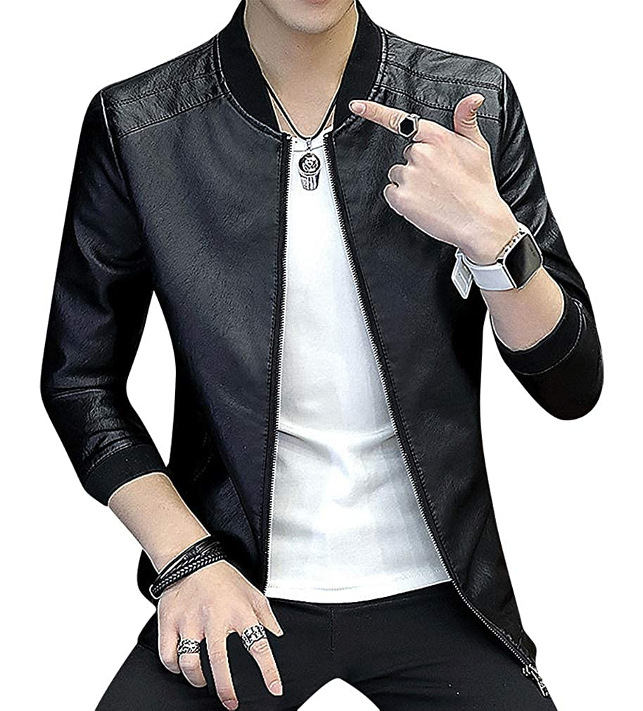 Mancave Men Solid Color Stitch Detail Zip Up Cuffed Faux Leather Bomber Jacket