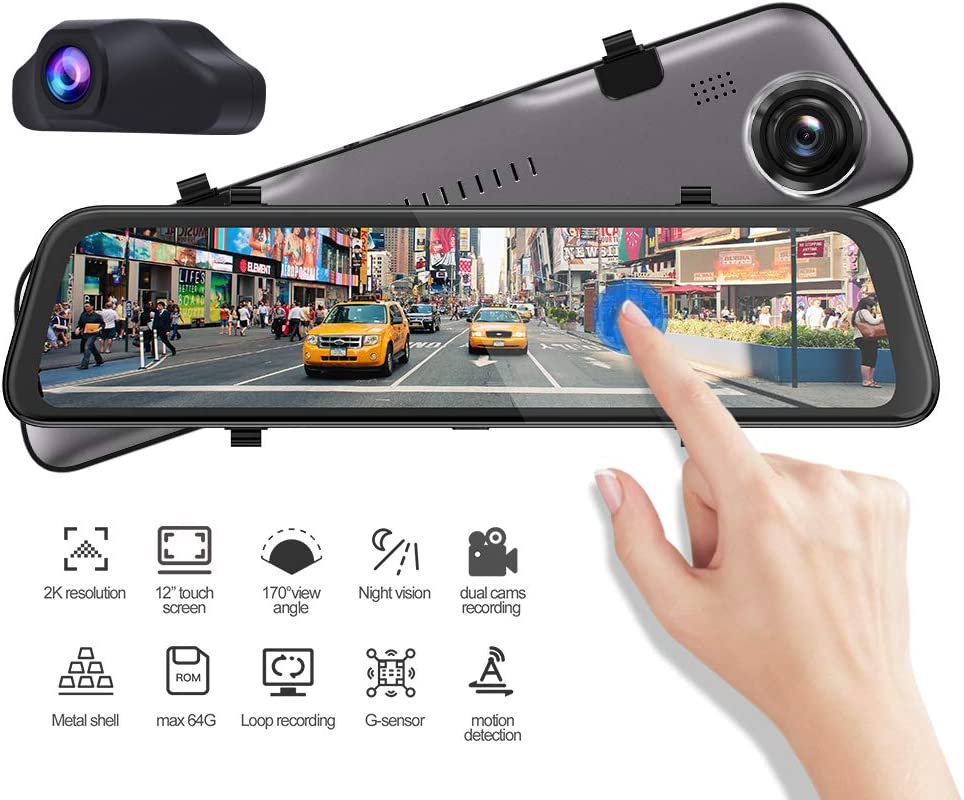 """Phisung 12"""" Car Mirror Dash Cam Front and Rear Backup View Dual Lens Recorder Camera DVR 170° Wide Angle with Night Vision 1080P Full Touch Screen Reverse Assistance 24 Hours Parking Monitor"""