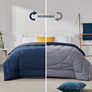 SLEEP ZONE All Season Comforter Down Alternative Soft Temperature Regulation Reversible Duvet, NavyBlue+Gray, King