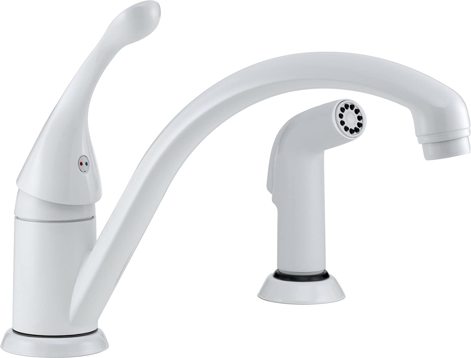 Delta 441-WH-DST Collins Single Handle Kitchen Faucet with Spray, White