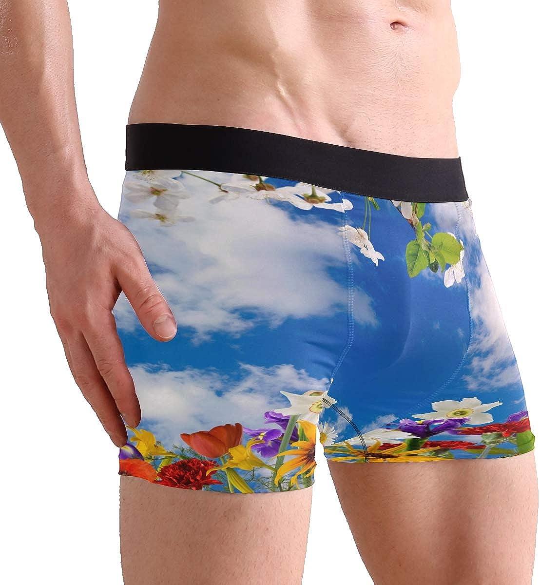 Love Heart Floral Flower Short Underwear Soft Stretch Underpants for Men Boys S-XL BETTKEN Mens Boxer Briefs