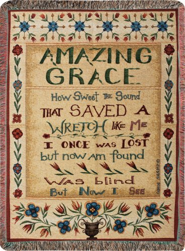 Bible Verse Throw (Manual  50 x 60-Inch Tapestry Throw with Fringe, Amazing Grace)
