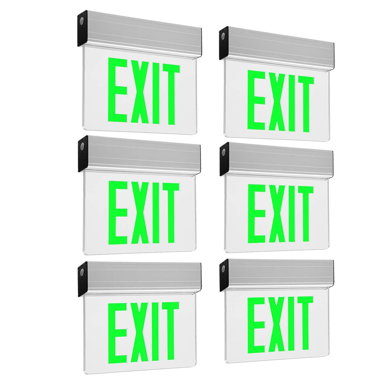 LEONLITE LED Edge Lit Green Exit Sign Single Face with Battery Backup, UL Listed, AC120V/277V, Ceiling/Left End/Back Mount Emergency Light for Hotel, Restaurant, Hospitals, Pack of 6