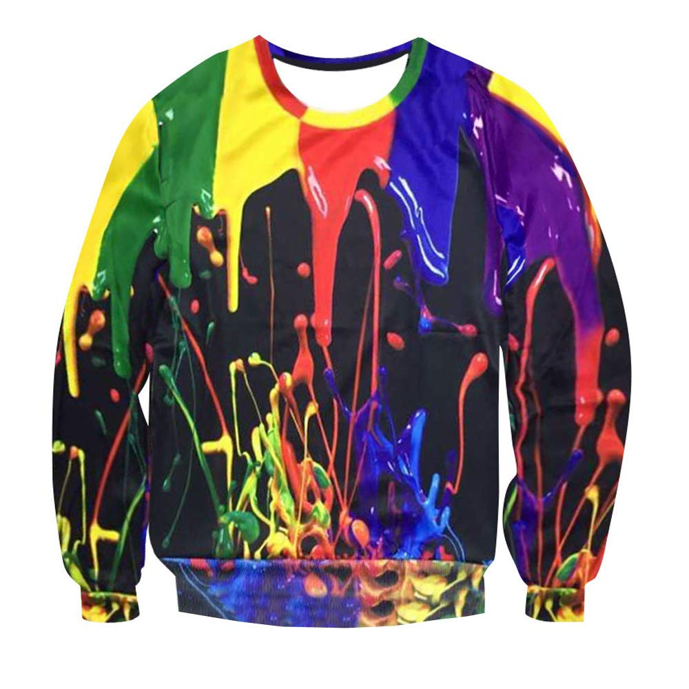 Mens Psychedelic 3D Splash-Ink Printed Long Sleeve T Shirts Sweatshirt Top Blouse Plus Size (M, 1896) by OCASHI