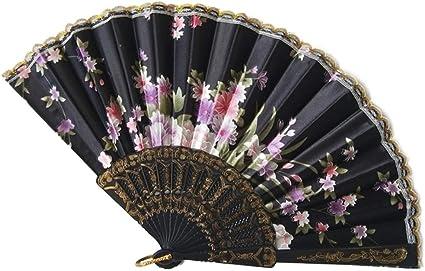 Spanish Style Flamenco Dance Party Wedding Lace Folding Hand Held Fan Flower