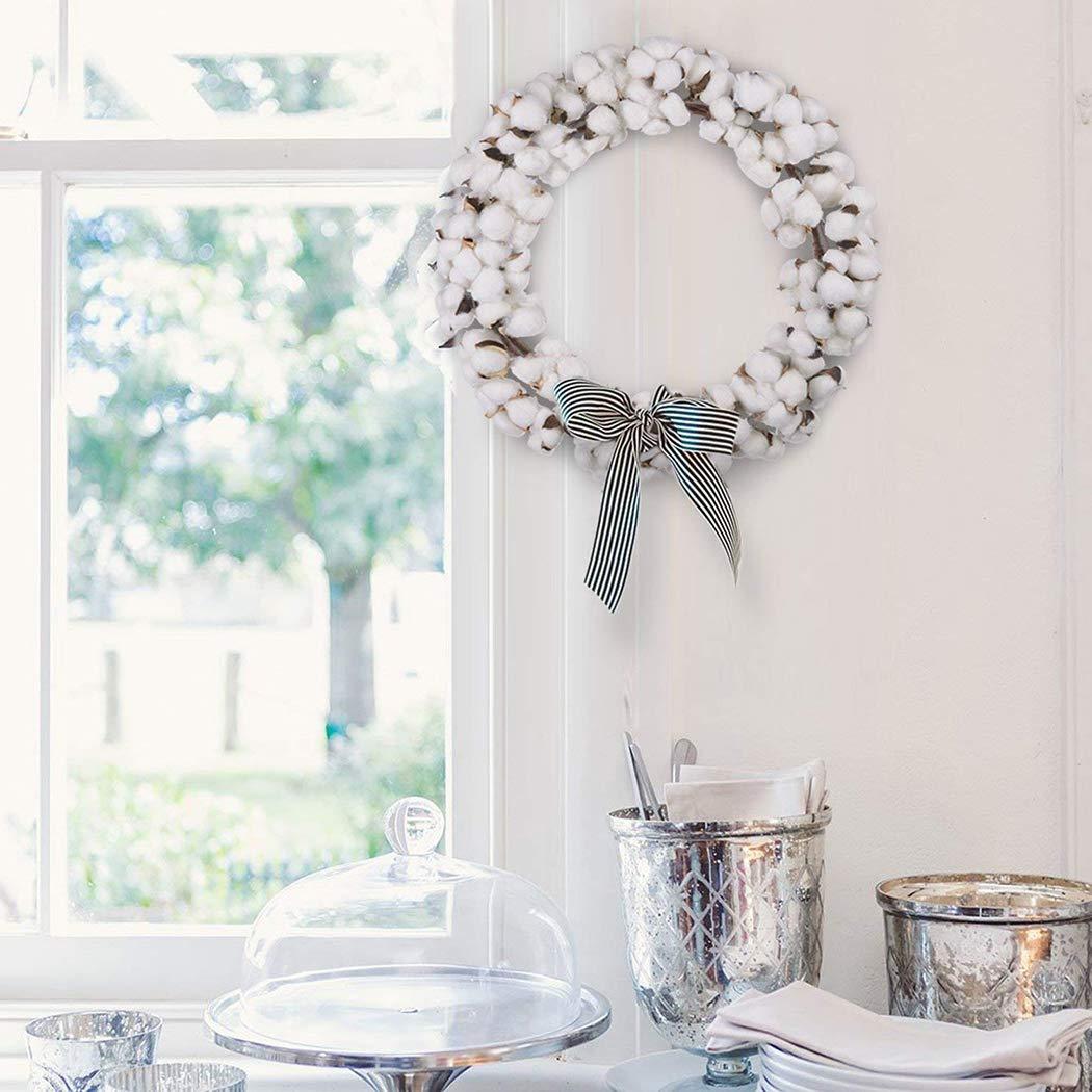 Justdolife Cotton Wreath Farmhouse Vintage Fluffy Flower Wreath