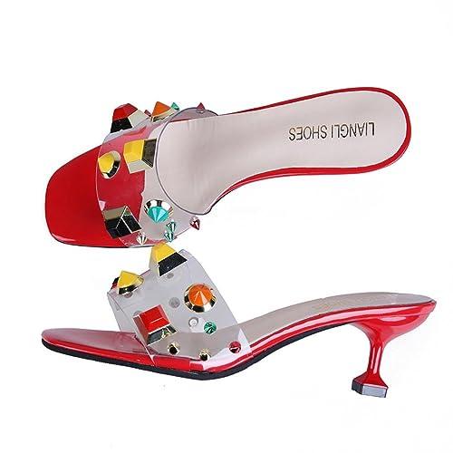 Zapatillas Rojas Zapatos de Gato y Talón de Mujer Zapatos de Cristal con Zapatos Transparentes: Amazon.es: Zapatos y complementos
