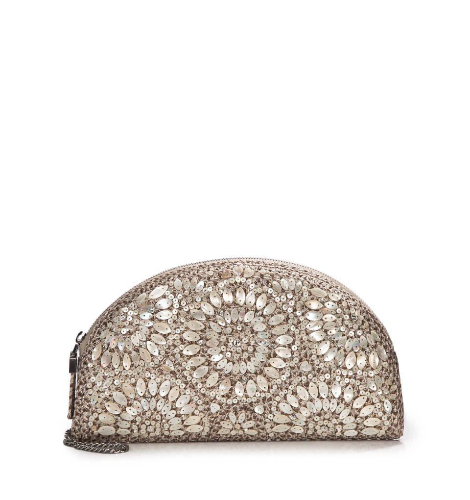 Eric Javits Luxury Fashion Designer Women's Handbag - Sadra (Taupe Glow)