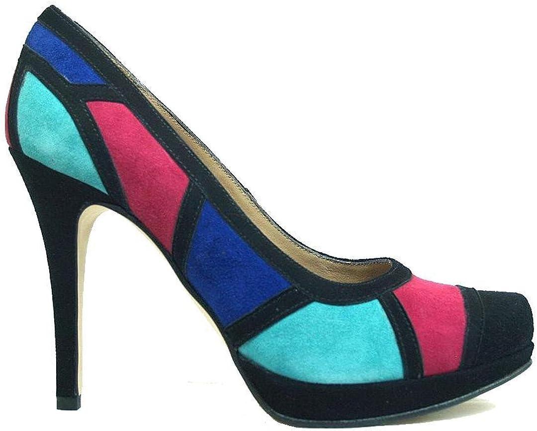 TALLA 42 EU. Gennia CULTI-Multi - Zapatos de Piel Ante Negro Tacón Alto de Aguja 9 cm y Plataforma 1 cm, con Punta Cerrada para Mujer