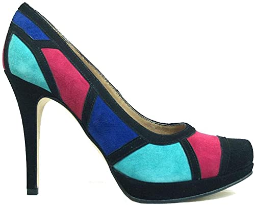 TALLA 42 EU. CULTI-Multi - Zapatos de Negro y Multicolor con Tacón Alto de Aguja 9 cm y Plataforma 1 cm, con Punta Cerrada para Mujer - Hechos a Mano en España - Planta con Esponja