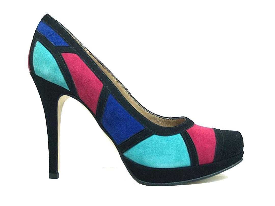 Gennia CULTI-Multi - Zapatos de Piel Ante Negro y Multicolor con Tacón Alto de Aguja 9 cm y Plataforma 1 cm, con Punta Cerrada para Mujer