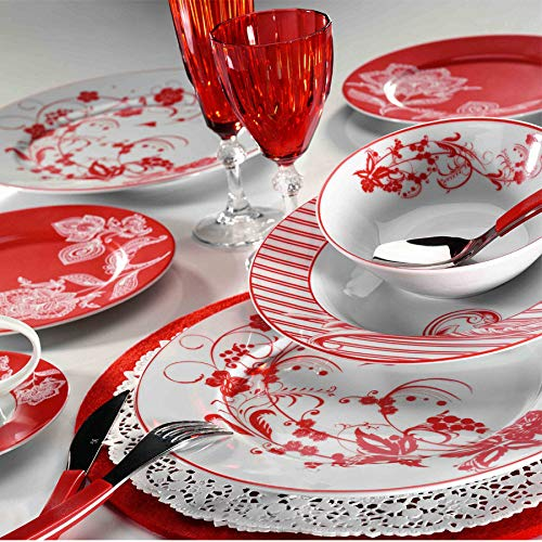 LaModaHome (24 Pieces) Dinner Set -%100 Porcelain & Durable - Service Plate, Plate, Bowl, Dessert Plate - Perfect Design & Made in Turkey - Red Flower Pattern Theme Design White Background IR24Y243