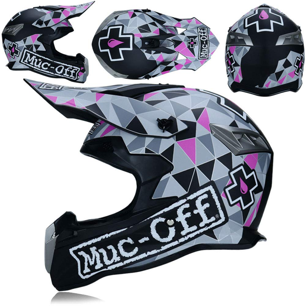 Motocross Helmets for Men and Women Professional Racing Locomotive Full Face Helmet, Breathable and Detachable,XL WHL SHOP