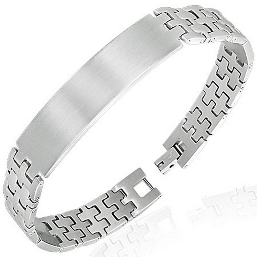 My Daily Styles Stainless Steel Silver-Tone Name Tag Link Chain Bracelet