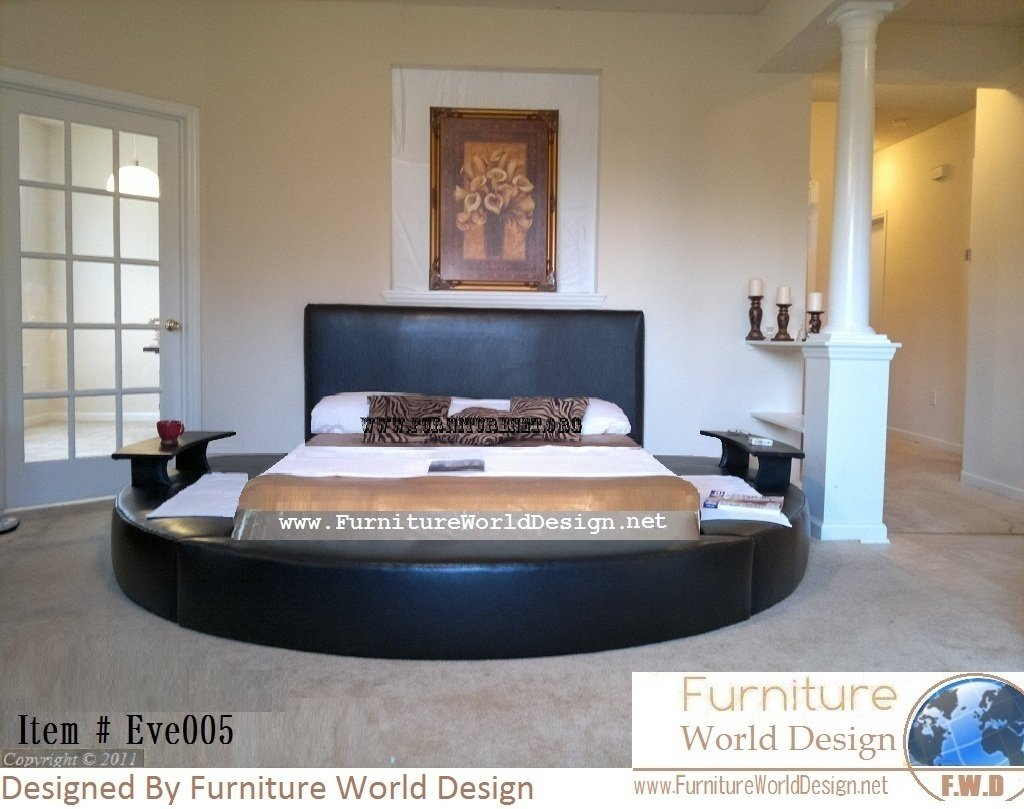 Amazon.com: Queen Size Leather Round Bed with 2 Night Tables Item # Eve005:  Kitchen & Dining