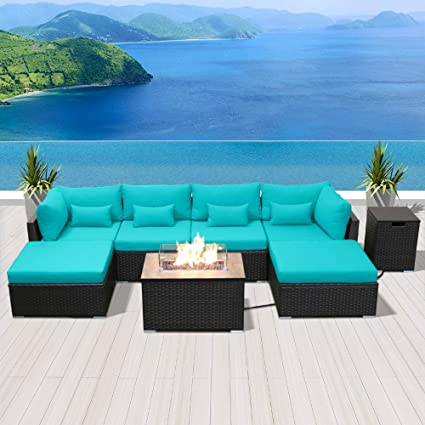 Strange Modenzi Outdoor Sectional Patio Furniture With Propane Fire Pit Table Espresso Brown Wicker Resin Garden Conversation Sofa Set C7 Sofa Rectangular Download Free Architecture Designs Grimeyleaguecom