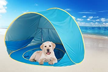 HTKJ Foldable Dog Beach Tent Portable Dog Pet Pop Up Fun Pool with Sun shelter & Amazon.com : HTKJ Foldable Dog Beach Tent Portable Dog Pet Pop Up ...