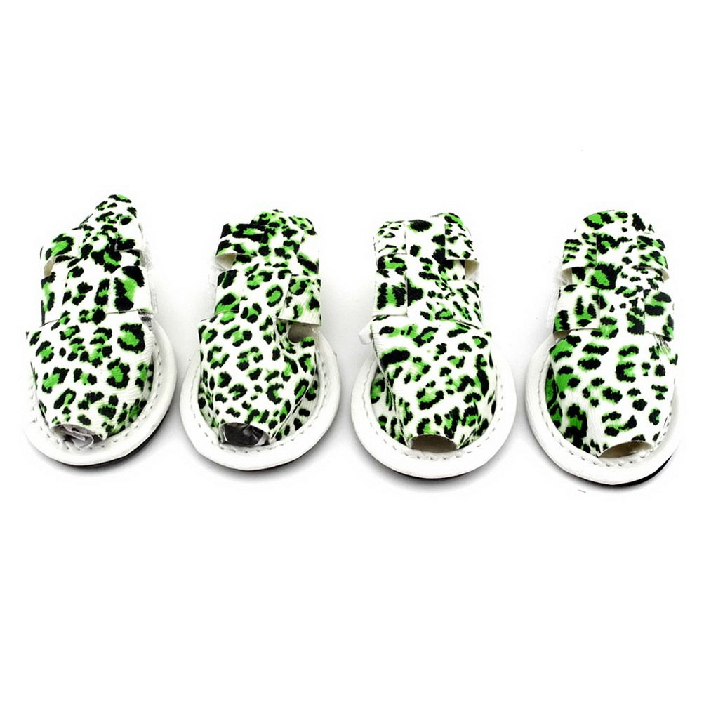 ZUNEA Pet Shoes for Summer Sandals Breathable Anti Skid Pavement Walking Leopard Print Paw Protector Cover,for Small Dogs Cat Puppy Green M