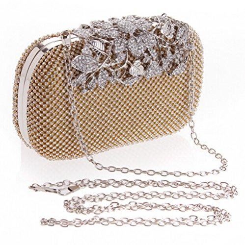 E Clutches Bag Gold Evening Flower Purse Crystal Elegant TDPAC Women Gold PwPqxgFS