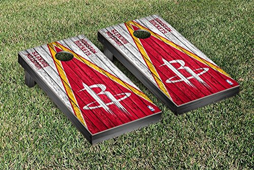 Houston Rockets NBA Basketball Regulation Cornhole Game Set Triangle Weathered Version by Victory Tailgate