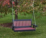5FT-CHERRYWOOD-POLY LUMBER Mission Porch Swing with Cupholder arms Heavy Duty EVERLASTING PolyTuf HDPE – MADE IN USA – AMISH CRAFTED Review