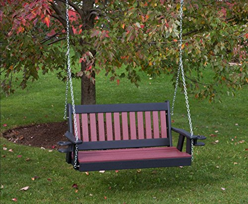 5FT-CHERRYWOOD-POLY LUMBER Mission Porch Swing with Cupholder arms Heavy Duty EVERLASTING PolyTuf HDPE - MADE IN USA - AMISH CRAFTED