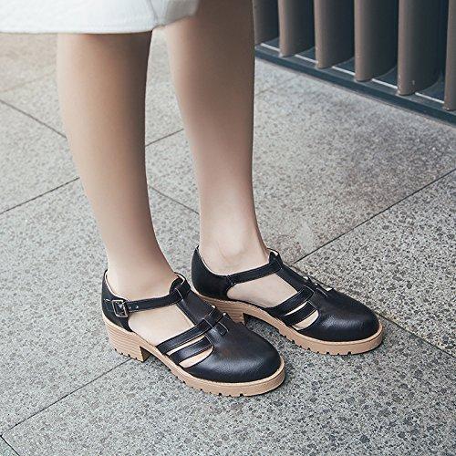 Empate Sandalias Con Mujer Negro Baotou En Verano Zapatos De Salvajes Ranurado Con GAOLIM El El Gruesas Estudiantes Hembra nqzEHwFXx