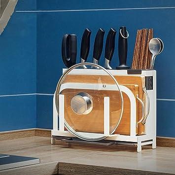 ... Suministros De Cocina Estante De Almacenamiento De Herramientas Tabla De Corte Multifuncional Estante De La Olla (Color : Blanco): Amazon.es: Hogar