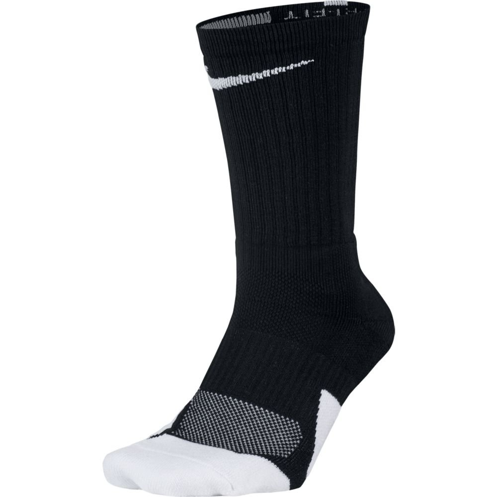 NIKE Unisex Dry Elite 1.5 Crew Basketball Socks (1 Pair), Black/White/White, Large by NIKE