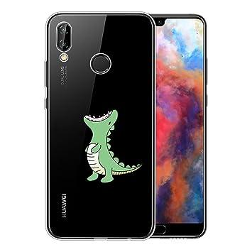 Funda Huawei P20 Lite, Shumeifang® Ultra Fina de Gel de Silicona TPU Carcasa con Dibujo Animado Lindo para Huawei P20 Lite - Cocodrilo