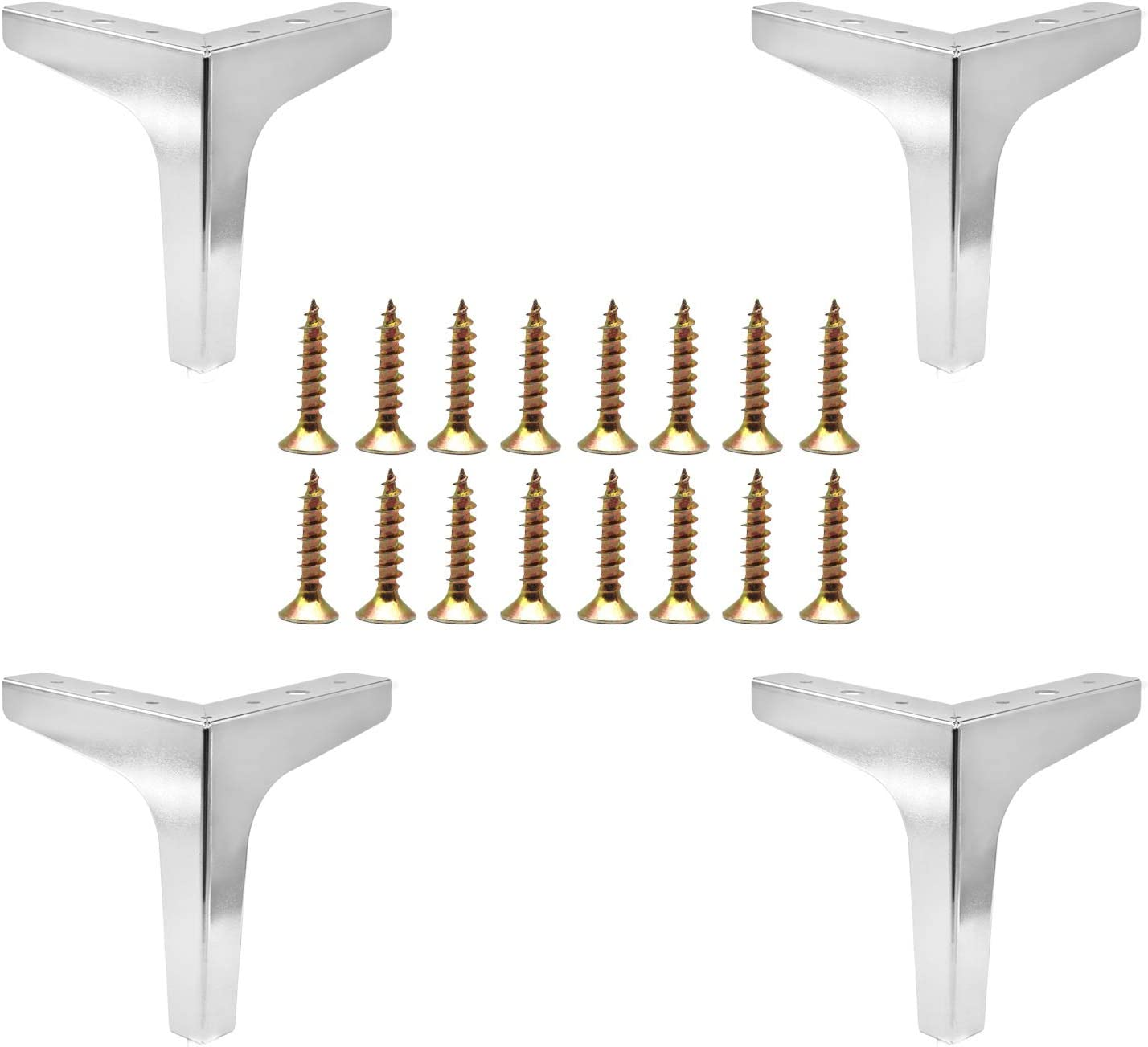 Pack of 4 Furniture Legs, 6 inch/ 15cm Height Sofa Legs Metal Chrome Polished Triangle Furniture Feet with Screws for Table Cabinet Cupboard Couch Bookcase Chair Ottoman DIY Replacement Parts